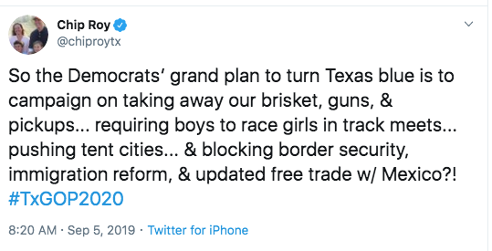 Screenshot of a tweet from Chip Roy, warning that Democrats will take away Texans' brisket, guns, and pickups.